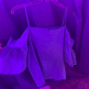 Blue denim off shoulder top from oak + fort
